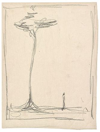 Alberto Giacometti, Homme et arbre, c. 1952. Crayon lithographique - 39 x 28,50 cm. Fondation Giacometti. © Succession Alberto Giacometti. (Fondation Giacometti +ADAGP, Paris) 2020.