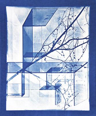 Laurent Millet, sans titre #2, série Schloss im Wald zu Bauen, 2012. Pièce unique – 40x50 cm, tirage cyanotype par contact, courtesy Galerie Binome.