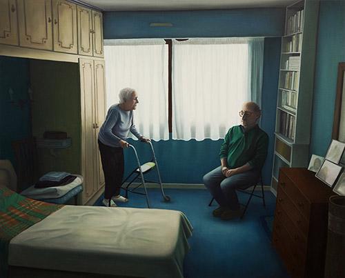 Dorian Cohen, Mère et fils, 2020. Huile sur toile. 81 x 100 cm. © Dorian Cohen, Courtesy. Galerie Paris-Beijing. Crédit photo Suzan Brun.