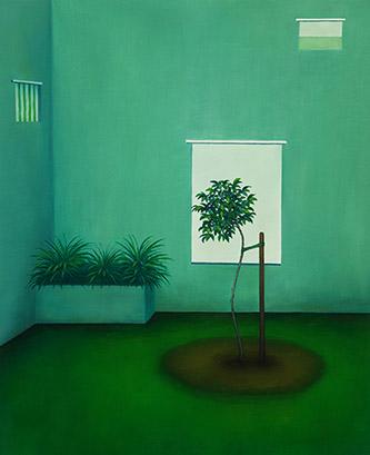 Dorian Cohen, Urbanités 30, 2019. Huile sur toile, 60 x 73 cm . © Dorian Cohen, Courtesy. Galerie Paris-Beijing. Crédit photo Suzan Brun.