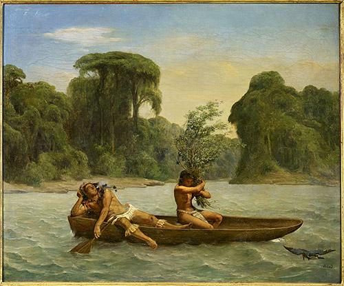 François Auguste Biard, Deux Indiens en pirogue, vers 1860-1861. Huile sur toile, 50,2 x 61 cm. Paris © Musée du quai Branly-Jacques Chirac, dist. RMN-Grand Palais / Enguerran Ouvray.