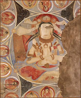 Jean Carl, Boddhisattvas de la grotte K, 1935, gouache sur toile, MG 24013, MNAAG, photographie RMN-GP.