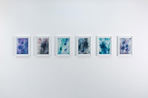 Yein Lee, glitches' lacemaking 1-VI 2020. Vue de l'exposition Stormy Weather, Centre culturel suisse, 2021 © Margot Montigny. cur. Claire Hoffmann et Katharina Brandle.