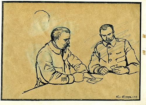 Georges Bruyer, sans titre, dessin à l'encre noir sur calque, 1917.