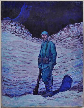 Georges Bruyer, Un poilu debout dans la tranchée, huile sur toile, 1917.