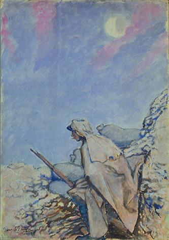 Georges Bruyer, Dans la tranchée, le Guet, aquarelle, mars 1915.