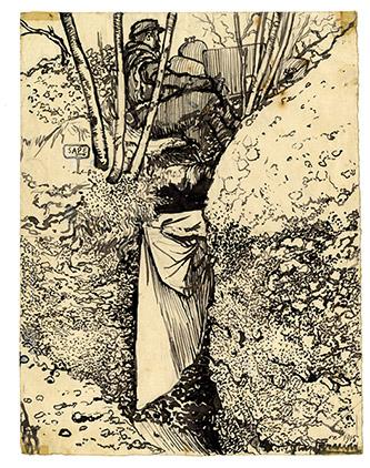 Georges Bruyer, La Sape, dessin à l'encre noire, 1915.