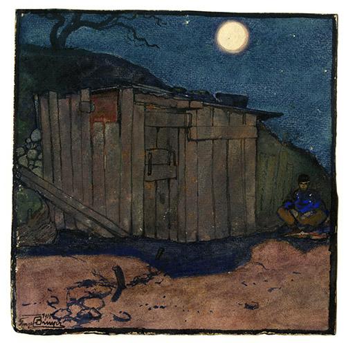 Georges Bruyer, Un gourbi dans la nuit bleue, aquarelle, 1915.