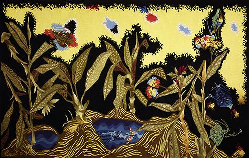 Jean LURÇAT (1892 – 1906), Amazone bleue, Tapisserie de basse lisse, laine et coton Atelier Pinton Frères, Felletin, 1957. H. 1,45 m x L. 2,27 m. Collection Département du Lot/Atelier-musée Jean-Lurçat, Saint-Laurent-les-Tours. Don de la société Rio Tinto (anciennement Pechiney) au Département du Lot en 2019. © Fondation Jean et Simone Lurçat, ADAGP, Paris, 2020. Photographie © Département du Lot, Nelly Blaya. Exposée à l'Atelier-musée Jean-Lurçat, Saint-Laurent-les-Tours. 1er avril – 3 octobre 2021