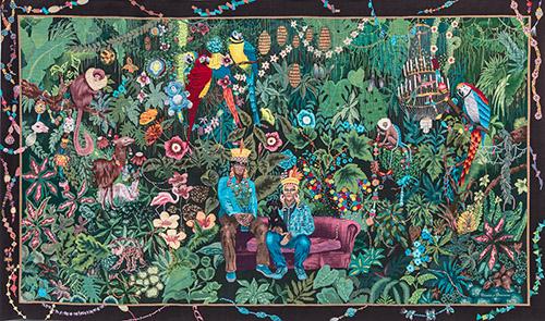 Léo CHIACHIO (né en 1969) et Daniel GIANNONE (né en 1964), La Famille dans la joyeuse verdure, Tapisserie de basse lisse, laine et soie, Atelier A2, France-Odile Perrin-Crinière, Patricia Bergeron, Aïko Komoni, 2017. H. 3,00 m x L. 5,00 m. Collection de la Cité internationale de la tapisserie. Fonds régional de création de tapisseries contemporaines, n° inv. 2017.7.1. © Chiachio/Giannone, 2020. Photographie © Cité internationale de la Tapisserie, droits réservés. Exposée au musée de Lodève. 3 avril – 22 août 2021 Exposée à la Cité internationale de la tapisserie, Aubusson. 1er juillet – 25 septembre 2022
