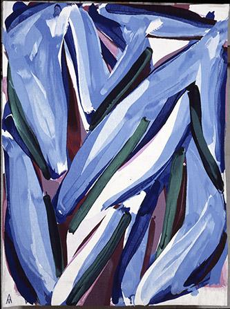 Alain CLÉMENT (né en 1941), Les Gentianes, Tapisserie de lisse, laine et coton, Atelier André Magnat, Aubusson, 1990. H. 2,15 m x L. 1,60 m. Collection du Mobilier national, Paris, n° inv. GMTT-1185-000. © Clément, ADAGP, Paris, 2020. Photographie © Mobilier national, Philippe Sébert. Exposée à l'Atelier-musée Jean-Lurçat, Saint-Laurent-les-Tours. 1er avril – 3 octobre 2021
