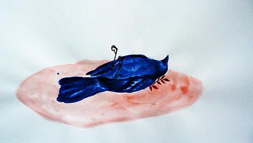 Odonchimeg Davaadorj, Lady bird, 40cm x 21cm, acrylique sur papier, 2020.
