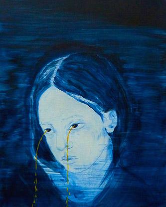 Odonchimeg Davaadorj, Golden tears, acrylique sur papier, 27cm x 21cm, 2020.