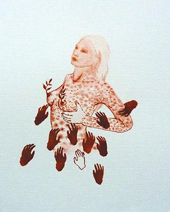 Odonchimeg Davaadorj, Gima, encre de chine sur papier, 27cm x 21cm, 2021.