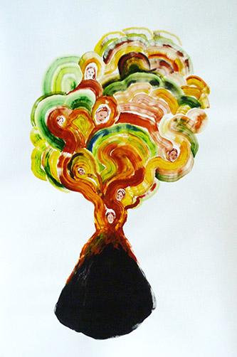 Odonchimeg Davaadorj, Dana, acrylique sur papier, 140cm x 100cm, 2020.