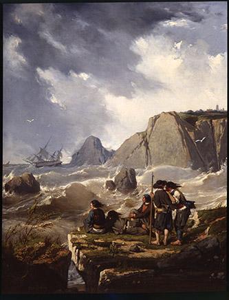 Pierre-Émile Berthélémy, (1818-1894), Naufrage sur la côte bretonne, 1851, huile sur toile, 93,3 x 72 x 2,5 cm, Musée de Morlaix © Musée de Morlaix, Musée de France.