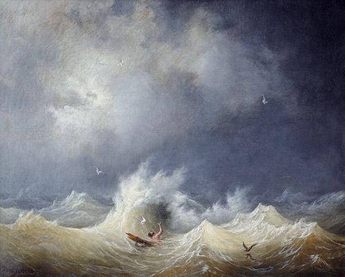 Louis Garneray, (1783 –1857), Le Naufragé, vers 1800, huile sur toile, 82 x 100 cm, Musée des beaux-arts de Brest. © Musée des Beaux-Arts de Brest Métropole.