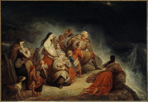 Ary Scheffer, (1795-1858), La Tempête, vers 1820, huile sur toile, 35,5 x 51,5 cm. Musée de la Vie romantique, Paris. © Musée de la Vie romantique / Roger-Viollet.