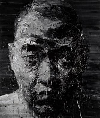 Yan Pei-Ming, Autoportrait No 3, 2000. Huile sur toile, 235 x 200 cm. Collection : Musée des Beaux-Arts, Dijon. Mentions obligatoires :  Photographie : André Morin . © Yan Pei-Ming, ADAGP, Paris, 2021.