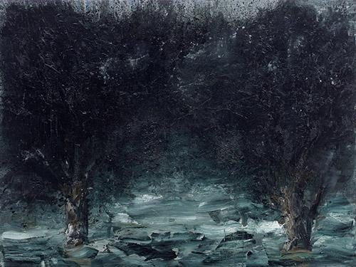Yan Pei-Ming, International Landscape by Night, 2011. Huile sur toile, 300 x 400 cm. Collection : Musée national d'art moderne, Centre Georges Pompidou, Paris. Mentions obligatoires : Photographie : André Morin . © Yan Pei-Ming, ADAGP, Paris, 2021.