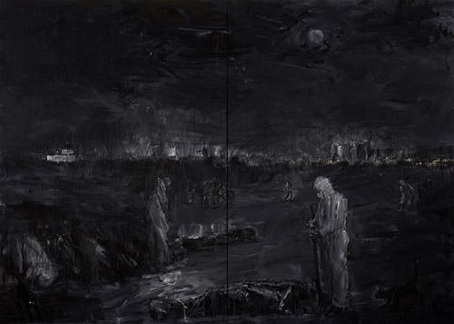 Yan Pei-Ming, Pandémie, 2020. Diptyque, Huile sur toile, 400 x 560 cm. Mentions obligatoires : Photographie : Clérin-Morin. © Yan Pei-Ming, ADAGP, Paris, 2021.