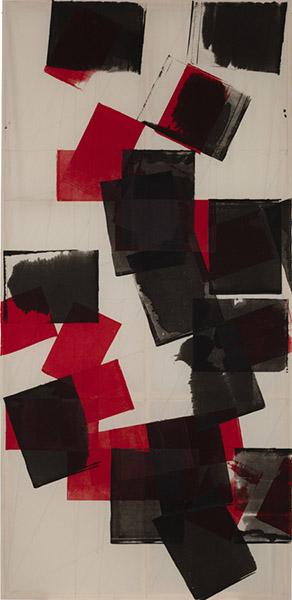 Mette Winckelmann, Come Undone, 2016. Textile prints, approx. 340 x 164 cm. Photo : Torben Eskerod.