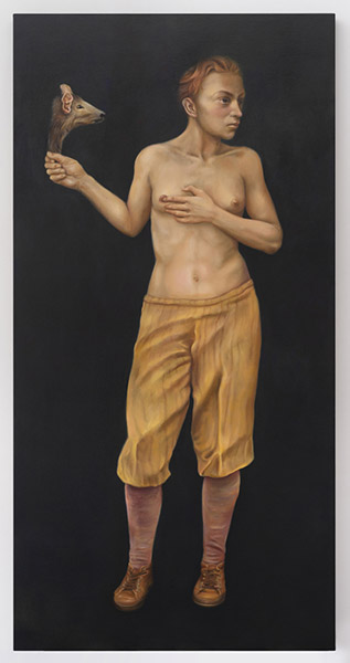 Sophie KUIJKEN, A.B.X., 2021. Huile et acrylique sur toile fixée sur panneau de bois contreplaqué, 200 x 100,5 x 5 cm. ID40547. © Sophie Kuijken, Courtesy de l'artiste et de la Galerie Nathalie Obadia Paris / Bruxelles.