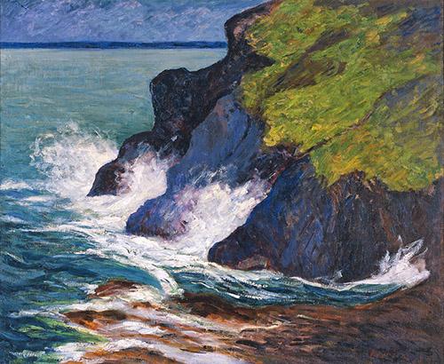 Maxime Maufra, Les Trois falaises, St Jean-du-Doigt, 1894. Huile sur toile, Collection du musée des beaux-arts de Quimper, © Musée des beaux-arts de Quimper.