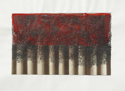 Jean-Claude Ruggirello, In dust we trust II, 2018. Collage photo, cendre,papier. 64x48 cm. Pièce unique / Courtesy de l'artiste et Galerie Papillon.