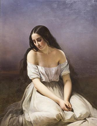Aimée Brune, Une jeune fille à genoux, 1839. Huile sur toile, 116 x 89 cm. Ville d'Orléans, musée des Beaux-Arts. © Orléans, Musée des Beaux-Arts. © Christophe Camus.