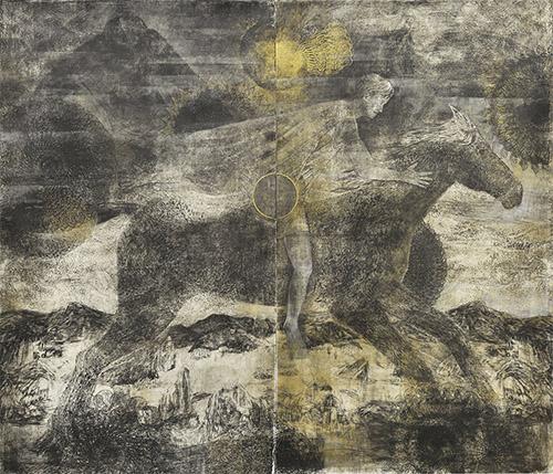 Jan Vičar, du cycle J'ai voulu être général, mais la guerre a été trop courte, Le cavalier, linogravure, 215 x 246 cm, 2014.