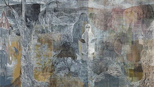 Jan Vičar, La fille et l'épine, linogravure - PVC relief, 200 x 350, 2017.