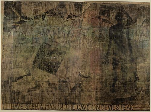 Jan Vičar, J'ai vu un homme dans la grotte de la Montagne du Diable, 220 x 340 cm, gravure sur bois, 2003.