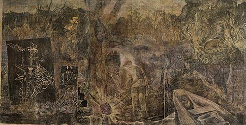 Jan Vičar, Un cœur dans la rivière, linogravure, 210 x 400 cm, 2008.