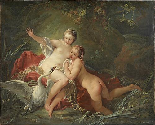 François Boucher (1703-1770), Léda et le Cygne, 1742. Huile sur toile, Stockholm, Nationalmuseum. © NationalMuseum, Stockholm.