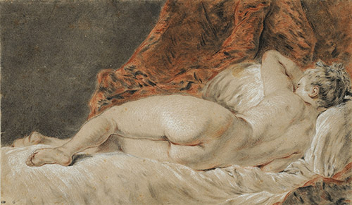 François Boucher (1703-1770), Femme allongée vue de dos dit Le Sommeil, vers 1740. Pierre noire, sanguine et craie sur papier brun, Paris, Beaux-Arts © Beaux-arts de Paris / RMN-GP.