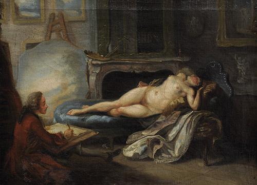 Gabriel de Saint-Aubin (1724-1780), L'Académie particulière, vers 1755. Huile sur toile. Strasbourg, musée des Beaux-Arts. © Musées de Strasbourg, M. Bertola.