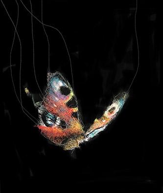 Mathieu Ducournau, Papillon #1. Fils de coton sur toile, 2020. © Galerie Chevalier.