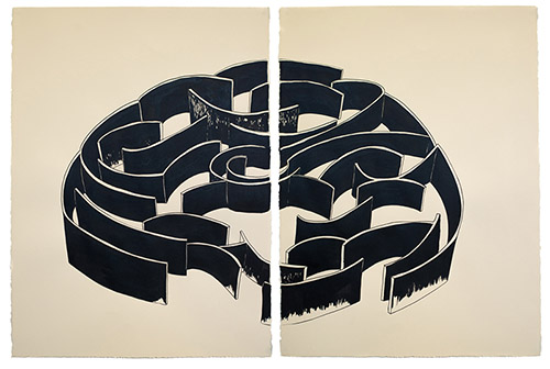 Pablo Reinoso, Labyrinthe 11. Encre de chine sur papier, 2020. © Rodrigo Reinoso.