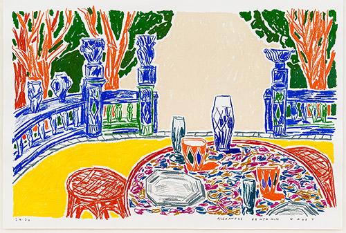 Alexandre Benjamin Navet, View from the Terrace no 1. Crayon à l'huile et pastel sur papier, 2020.