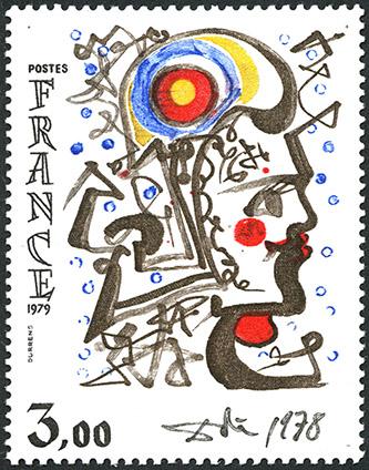 Marianne, timbre-poste, dessin de Salvador Dali, gravure en taille-douce de Claude Durrens, 1978. Coll. Musée de La Poste © ADAGP, Paris 2021.