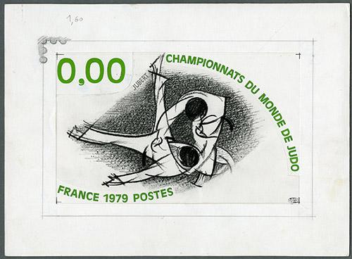 Jacques Jubert, Championnats de France de judo, maquette du timbre-poste, crayon et gouache sur papier, 1979. Coll. Musée de La Poste.