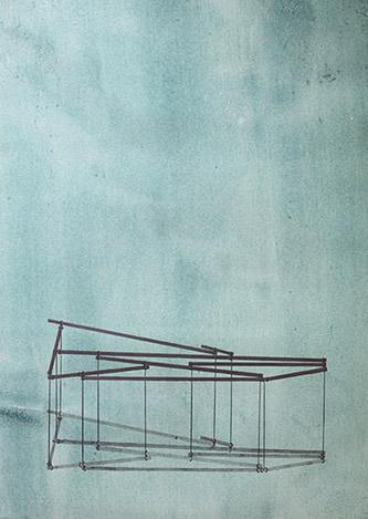 Marine Pagès, Sans titre 2 (Les Intermédiaires), 2019. Crayon et graphique aquarellable sur papier préparé, 64 x 46 cm. Courtesy Galerie Bernard.