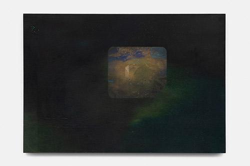 Paul Mignard, La boutique de Sorrensen, 2020, 38 x 55 cm, pigments sur panneau d'okumé. © Galerie Jérôme Poggi, Paris. Photo : © Nicolas Brasseur.