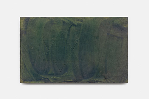 Paul Mignard, Par des haies de bambous, 2020, 37 x 60 cm, pigments sur panneau d'okumé. © Galerie Jérôme Poggi, Paris .Photo : © Nicolas Brasseur.