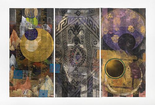 Paul Mignard, KhounanKaraArzylangKara II, 2020, 200 x 303 cm, pigments et paillettes sur toile libre. © Galerie Jérôme Poggi, Paris. Photo : © Nicolas Brasseur.