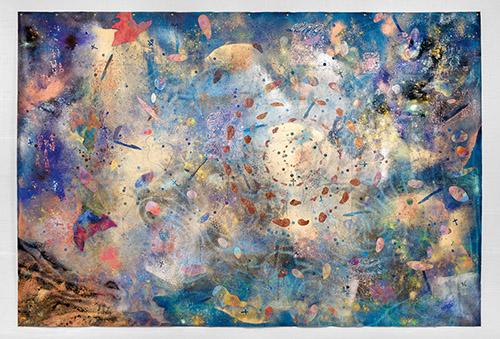 Paul Mignard, Est : de me voir vieillir entre la vie, 2019, 205 x 300 cm, pigments et paillette sur toile libre. © Galerie Jérôme Poggi, Paris. Photo : © Nicolas Brasseur.