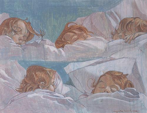 Augustin Rouart, Cinq portraits d'enfant endormi, 1948. Crédit : Philippe Fuzeau.