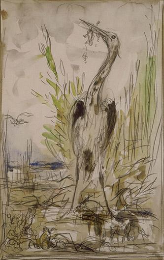 Gustave Moreau, Étude préparatoire pour Les Grenouilles qui demandent un Roi. Aquarelle, graphite, crayon noir, dim. 31,5 x 20 cm. Paris, musée Gustave Moreau, Cat. 448. © RMN-GP / René-Gabriel Ojéda.