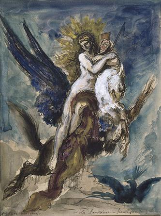 Gustave Moreau, La Fantaisie. Frontispice des Fables. Plume, encre brune, graphite (?), aquarelle, gouache, dim. 28,5 x 21,5cm. © RMN-GP / René-Gabriel Ojéda.